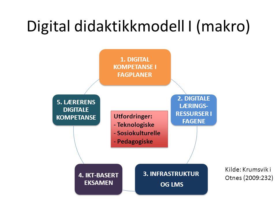Digital didaktikkmodell I (makro) 1. DIGITAL KOMPETANSE I FAGPLANER 2. DIGITALE LÆRINGS- RESSURSER I FAGENE 3. INFRASTRUKTUR OG LMS 4. IKT-BASERT EKSA