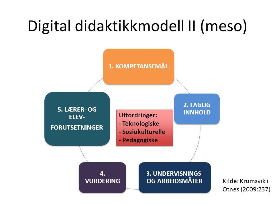 Digital didaktikkmodell II (meso) 1. KOMPETANSEMÅL 2. FAGLIG INNHOLD 3. UNDERVISNINGS- OG ARBEIDSMÅTER 4. VURDERING 5. LÆRER- OG ELEV- FORUTSETNINGER