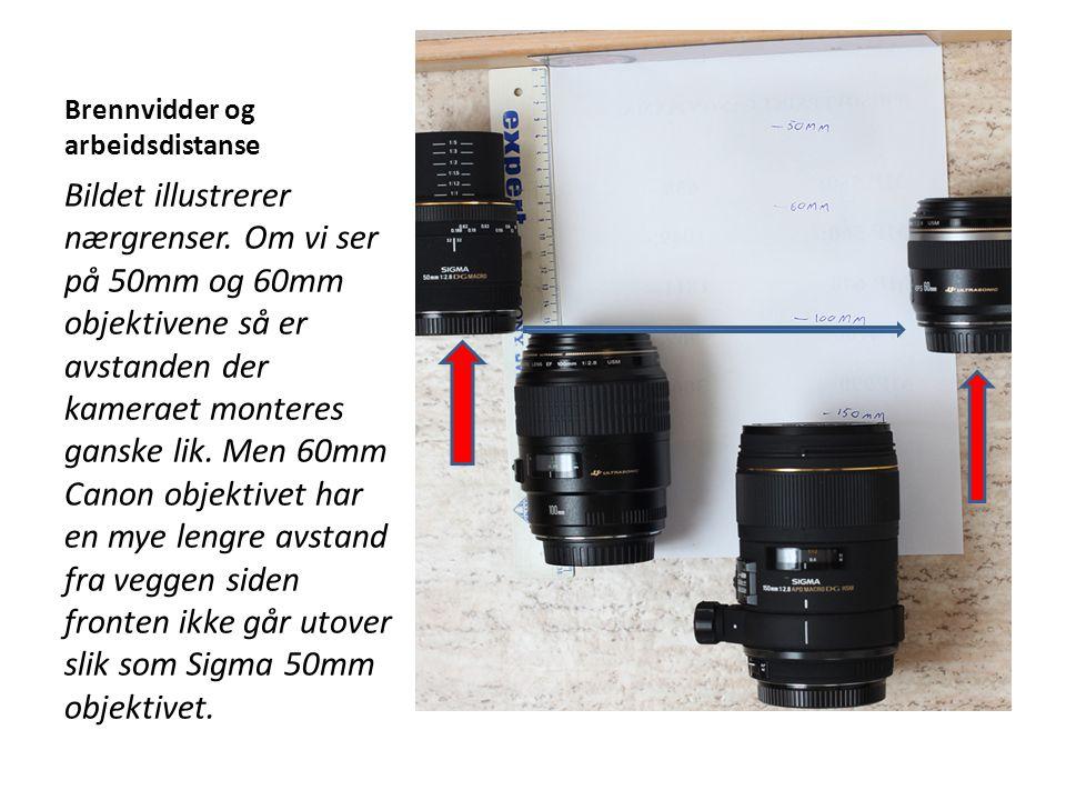 Brennvidder og arbeidsdistanse Bildet illustrerer nærgrenser. Om vi ser på 50mm og 60mm objektivene så er avstanden der kameraet monteres ganske lik.