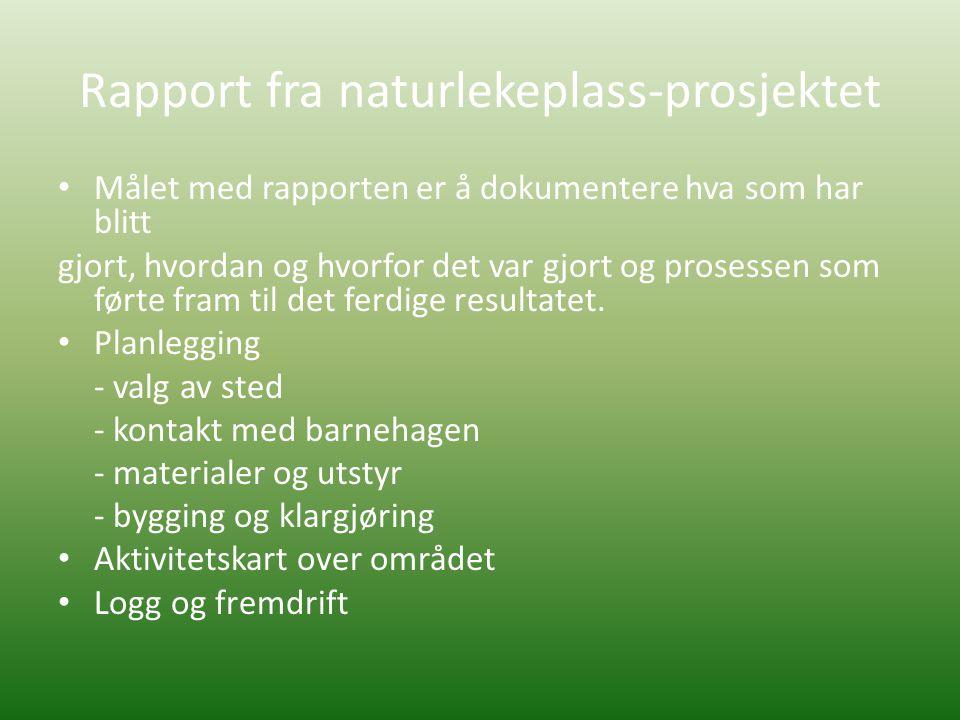 Rapport fra naturlekeplass-prosjektet • Målet med rapporten er å dokumentere hva som har blitt gjort, hvordan og hvorfor det var gjort og prosessen som førte fram til det ferdige resultatet.