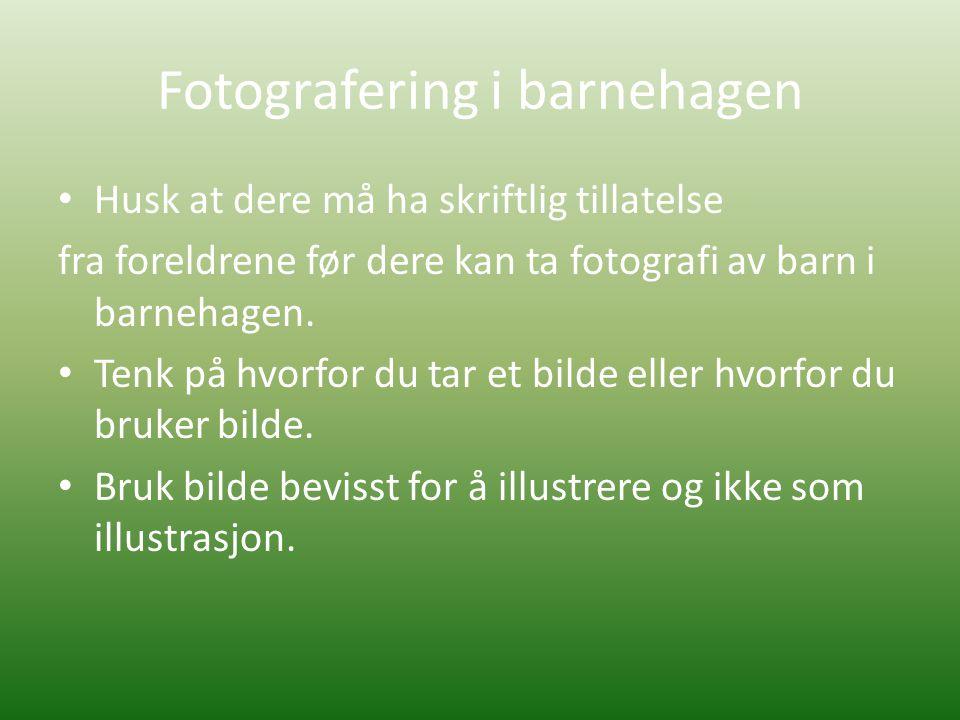 Fotografering i barnehagen • Husk at dere må ha skriftlig tillatelse fra foreldrene før dere kan ta fotografi av barn i barnehagen. • Tenk på hvorfor