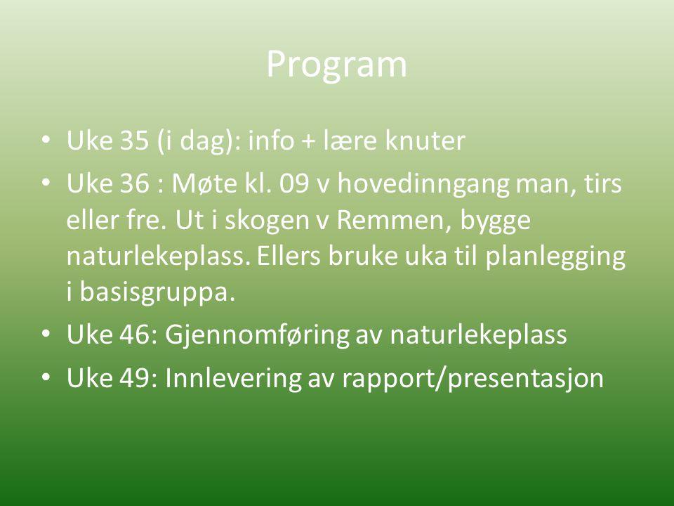 Program • Uke 35 (i dag): info + lære knuter • Uke 36 : Møte kl.