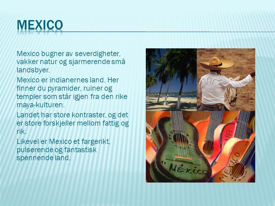 Mexico bugner av severdigheter, vakker natur og sjarmerende små landsbyer. Mexico er indianernes land. Her finner du pyramider, ruiner og templer som