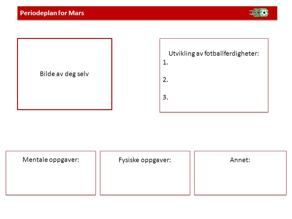 Bilde av deg selv Periodeplan for Mars Utvikling av fotballferdigheter: 1. 2. 3. Utvikling av fotballferdigheter: 1. 2. 3. Mentale oppgaver: Fysiske o
