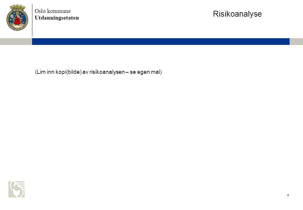 Oslo kommune Utdanningsetaten 4 (Lim inn kopi(bilde) av risikoanalysen – se egen mal) Risikoanalyse
