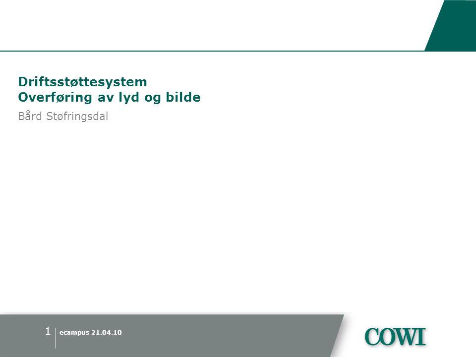 ecampus 21.04.10 1 Driftsstøttesystem Overføring av lyd og bilde Bård Støfringsdal
