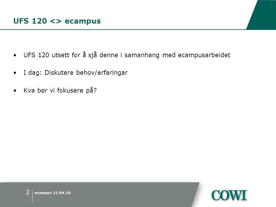 ecampus 21.04.10 2 UFS 120 <> ecampus •UFS 120 utsett for å sjå denne i samanhang med ecampusarbeidet •I dag: Diskutere behov/erfaringar •Kva bør vi fokusere på