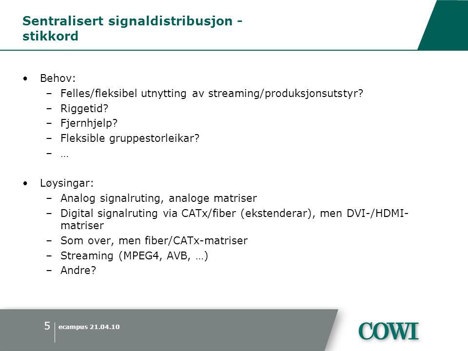 ecampus 21.04.10 5 Sentralisert signaldistribusjon - stikkord •Behov: –Felles/fleksibel utnytting av streaming/produksjonsutstyr.