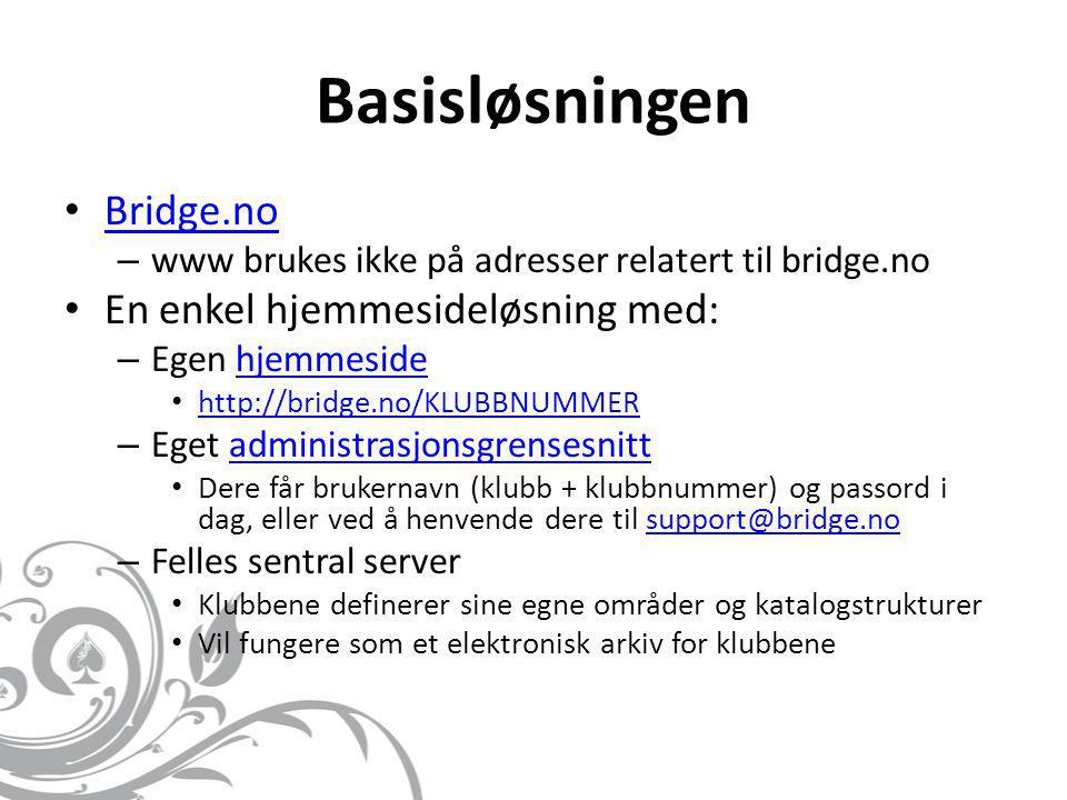 Basisløsningen • Bridge.no Bridge.no – www brukes ikke på adresser relatert til bridge.no • En enkel hjemmesideløsning med: – Egen hjemmesidehjemmesid