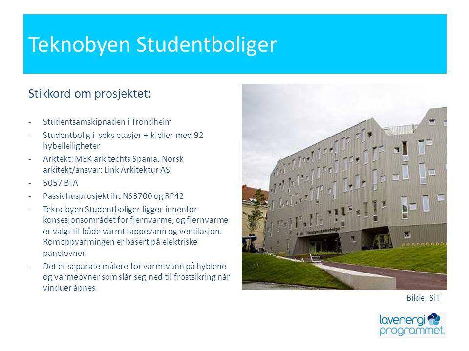 Teknobyen Studentboliger Stikkord om prosjektet: -Studentsamskipnaden i Trondheim -Studentbolig i seks etasjer + kjeller med 92 hybelleiligheter -Arkt