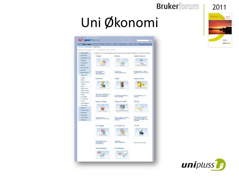 Fra PC World: • Imponerer med fleksibelt, tilpasset og effektiv bilde for registrering av bilag • Uni Økonomi er best på e-faktura (og E2B / EHB) • Te