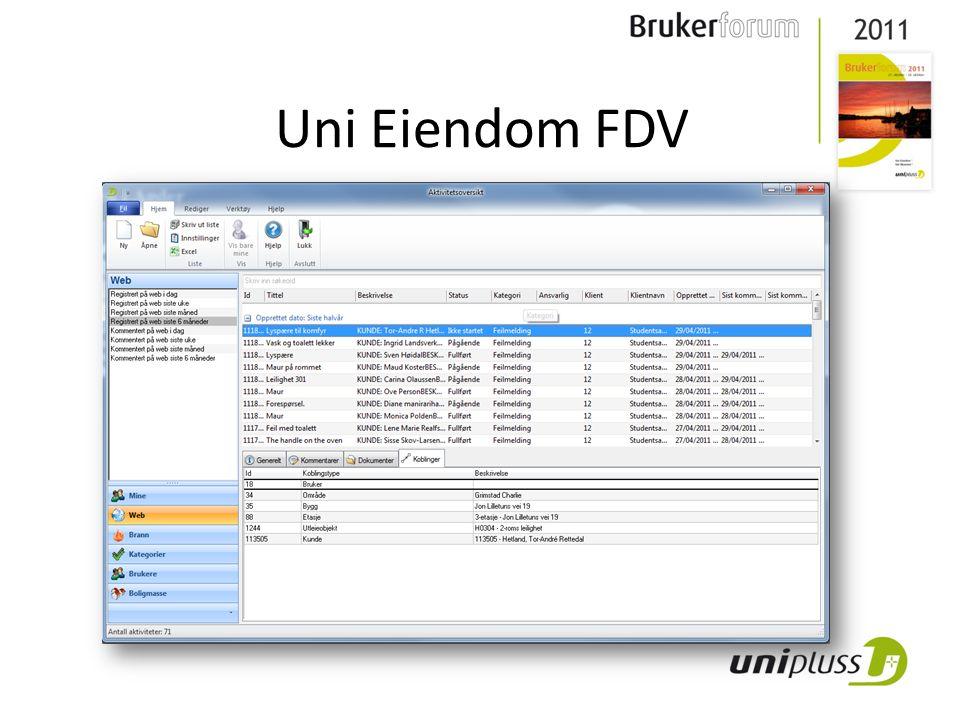 Uni Eiendom FDV • Fullt integrert med Uni Eiendom • Feilmelding direkte i Uni Eiendom • Alt på et sted • Arbeidsordre/ aktivitet • Tegningsintegrasjon