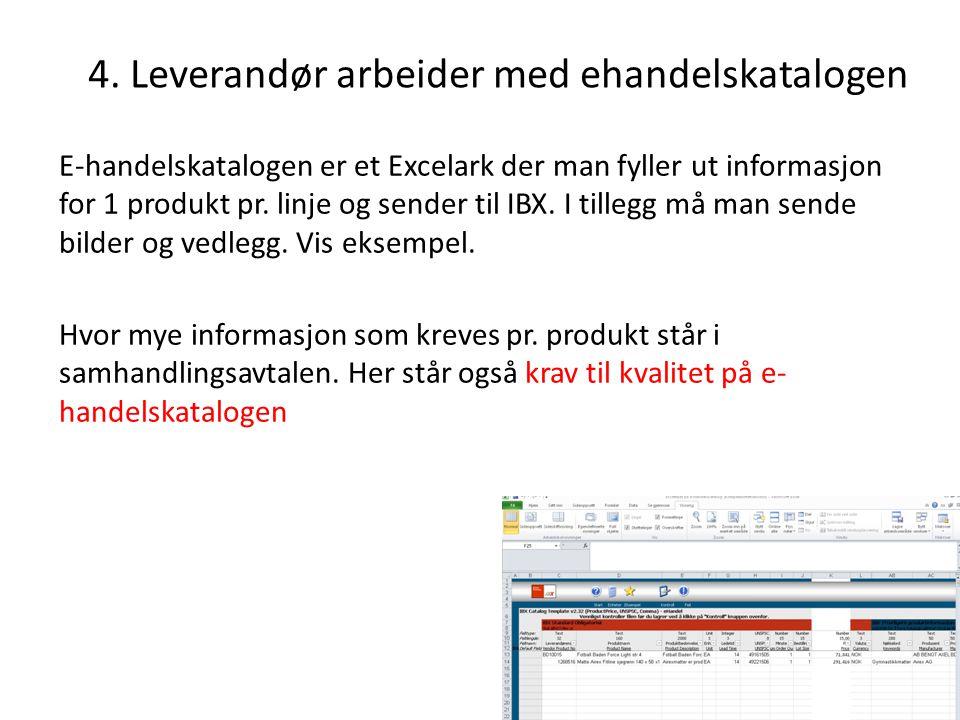 4. Leverandør arbeider med ehandelskatalogen E-handelskatalogen er et Excelark der man fyller ut informasjon for 1 produkt pr. linje og sender til IBX