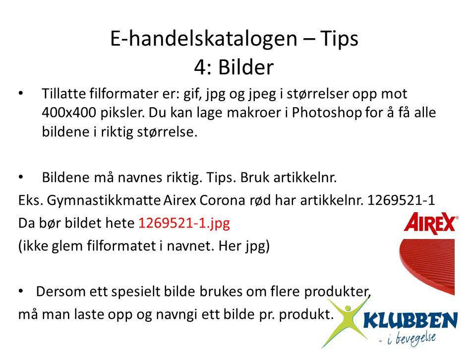 • Tillatte filformater er: gif, jpg og jpeg i størrelser opp mot 400x400 piksler. Du kan lage makroer i Photoshop for å få alle bildene i riktig størr