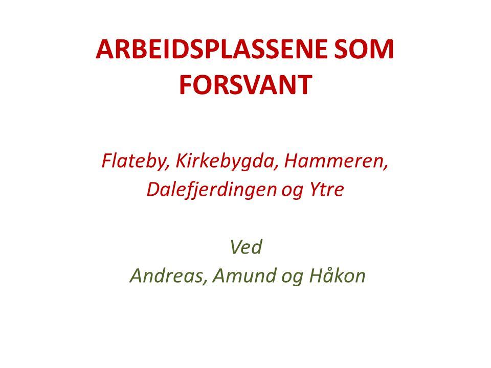 ARBEIDSPLASSENE SOM FORSVANT Flateby, Kirkebygda, Hammeren, Dalefjerdingen og Ytre Ved Andreas, Amund og Håkon