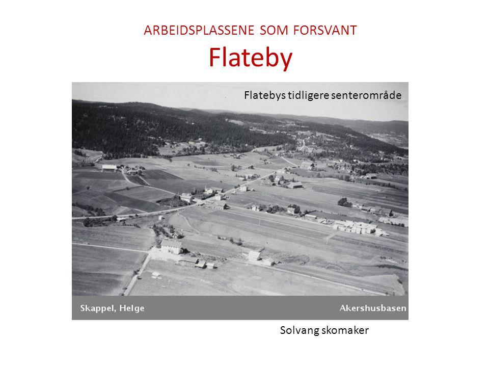 ARBEIDSPLASSENE SOM FORSVANT Flateby Bjer ladhandel Solvang skomaker Flatebys tidligere senterområde