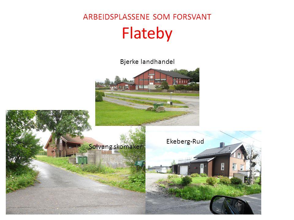 ARBEIDSPLASSENE SOM FORSVANT Flateby Solvang skomaker Bjerke landhandel Ekeberg-Rud