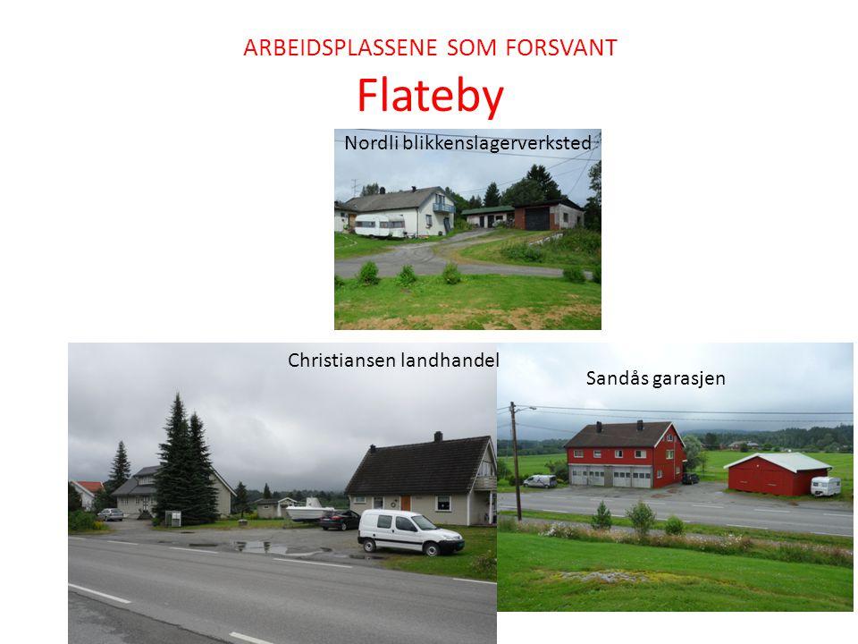 ARBEIDSPLASSENE SOM FORSVANT Flateby Nordli blikkenslagerverksted Sandås garasjen Christiansen landhandel