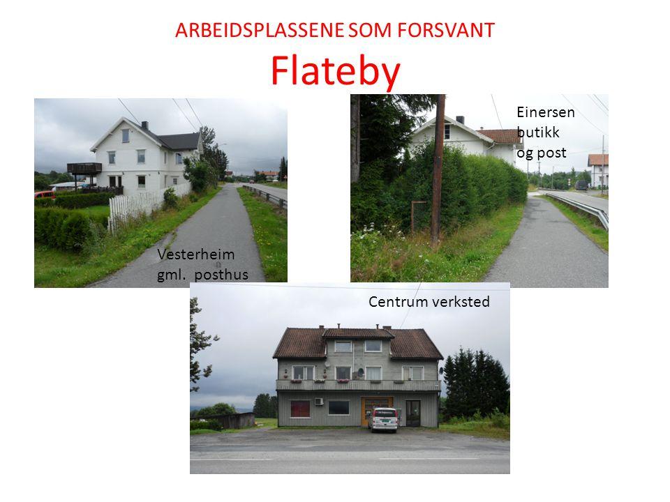 ARBEIDSPLASSENE SOM FORSVANT Flateby Vesterheim gml. posthus Einersen butikk og post Centrum verksted