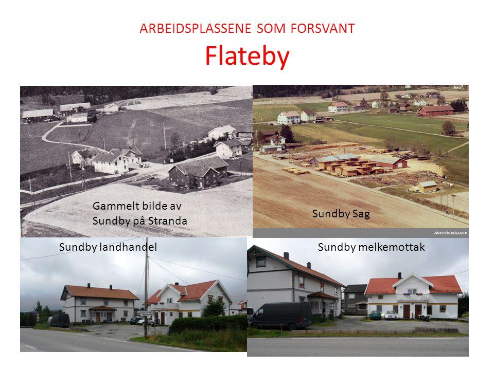 ARBEIDSPLASSENE SOM FORSVANT Flateby Sundby landhandel Sundby melkemottak Gammelt bilde av Sundby på Stranda Sundby Sag