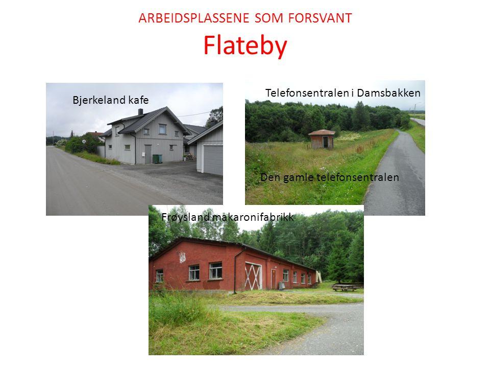ARBEIDSPLASSENE SOM FORSVANT Flateby Bjerkeland kafe Den gamle telefonsentralen Telefonsentralen i Damsbakken Frøysland makaronifabrikk
