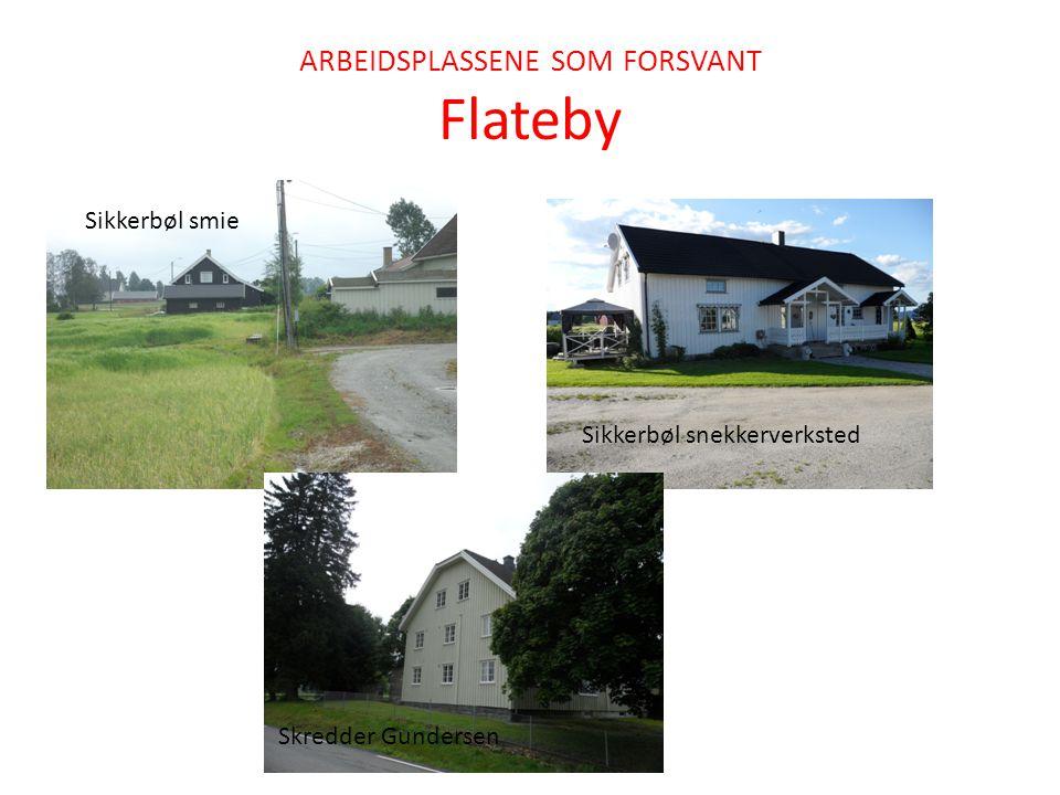 ARBEIDSPLASSENE SOM FORSVANT Flateby Sikkerbøl smie Sikkerbøl snekkerverksted Skredder Gundersen