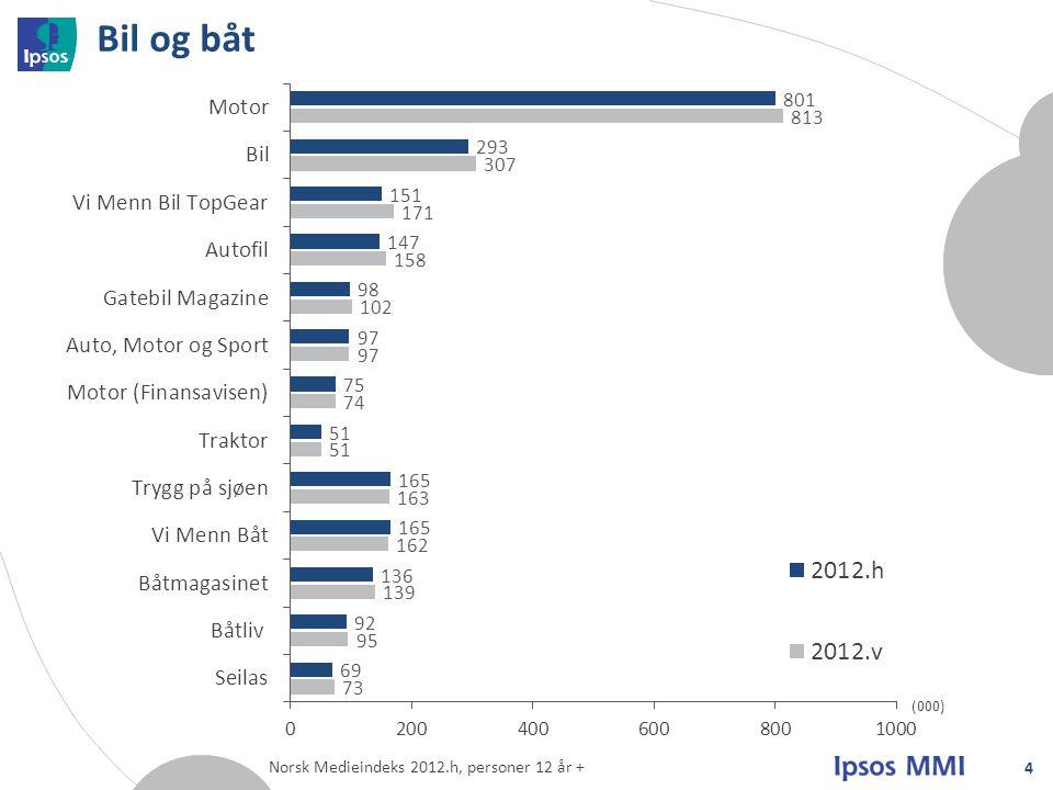 Bil og båt 4 (000) Norsk Medieindeks 2012.h, personer 12 år +