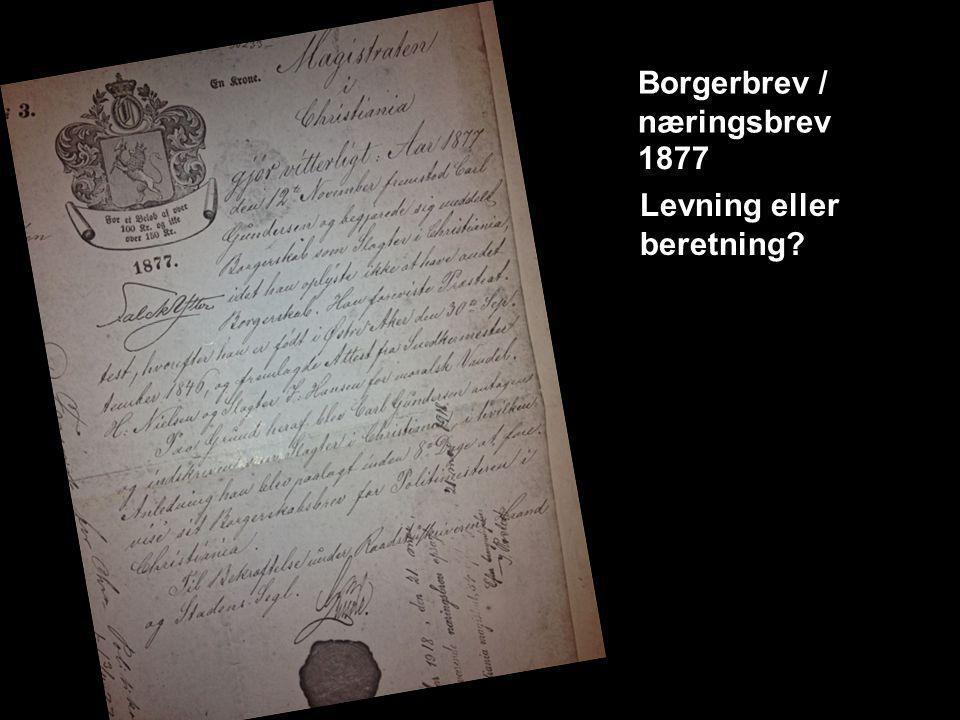 Borgerbrev / næringsbrev 1877 Levning eller beretning?