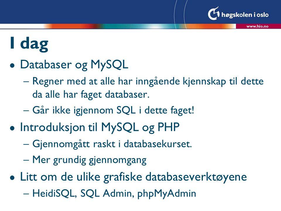 I dag l Databaser og MySQL –Regner med at alle har inngående kjennskap til dette da alle har faget databaser.