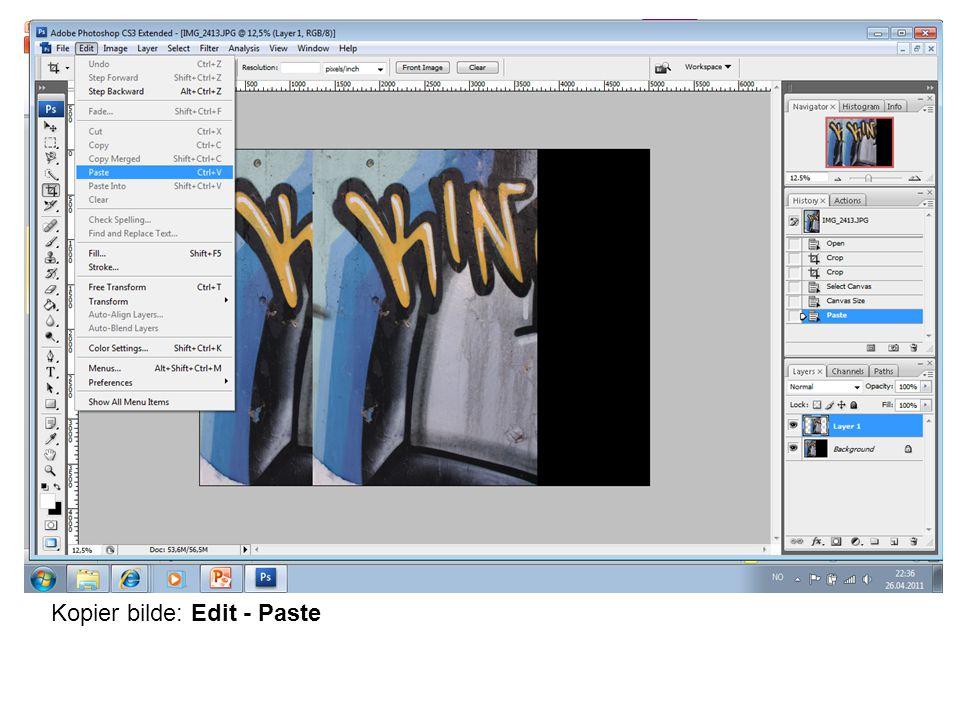 For å speilvende bildet: Edit – Free Transform – Flip Layer Horizontal