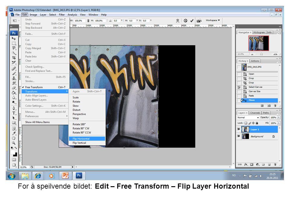 For å sette sammen mønsterflaten: Edit - Fill
