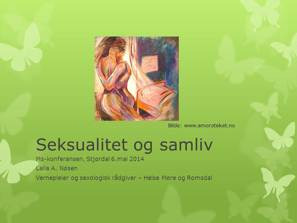 Seksualitet og samliv Ms-konferansen, Stjørdal 6.mai 2014 Laila A. Nøsen Vernepleier og sexologisk rådgiver – Helse Møre og Romsdal Bilde: www.amorote