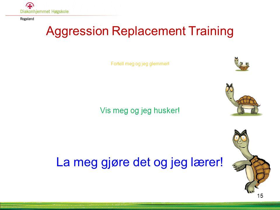 Aggression Replacement Training Fortell meg og jeg glemmer! Vis meg og jeg husker! La meg gjøre det og jeg lærer! 15
