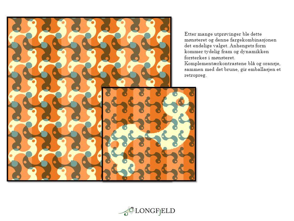 Etter mange utprøvinger ble dette mønsteret og denne fargekombinasjonen det endelige valget. Anhengets form kommer tydelig fram og dynamikken forsterk