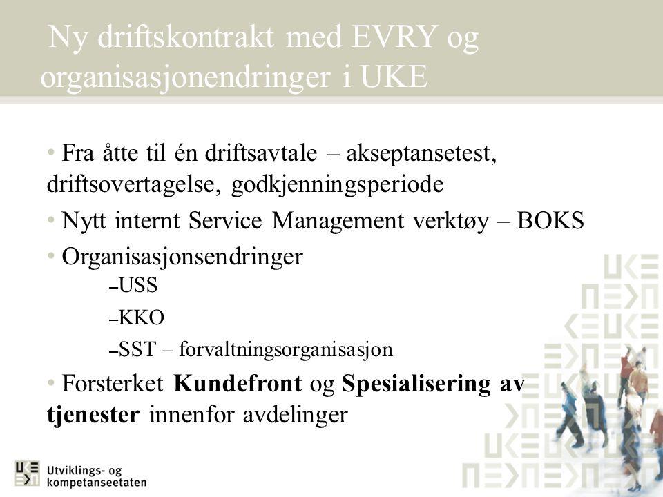 Ny driftskontrakt med EVRY og organisasjonendringer i UKE • Fra åtte til én driftsavtale – akseptansetest, driftsovertagelse, godkjenningsperiode • Ny