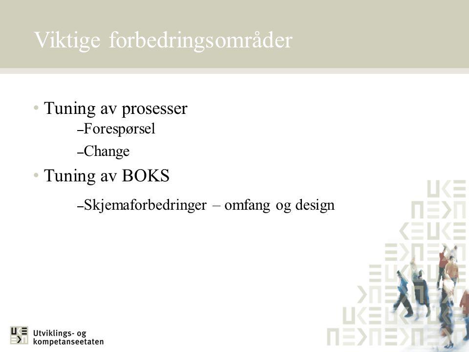 Viktige forbedringsområder • Tuning av prosesser – Forespørsel – Change • Tuning av BOKS – Skjemaforbedringer – omfang og design