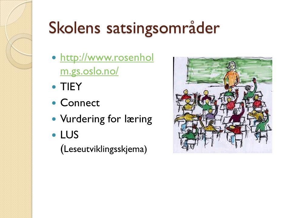 Skolens satsingsområder  http://www.rosenhol m.gs.oslo.no/ http://www.rosenhol m.gs.oslo.no/  TIEY  Connect  Vurdering for læring  LUS ( Leseutviklingsskjema)