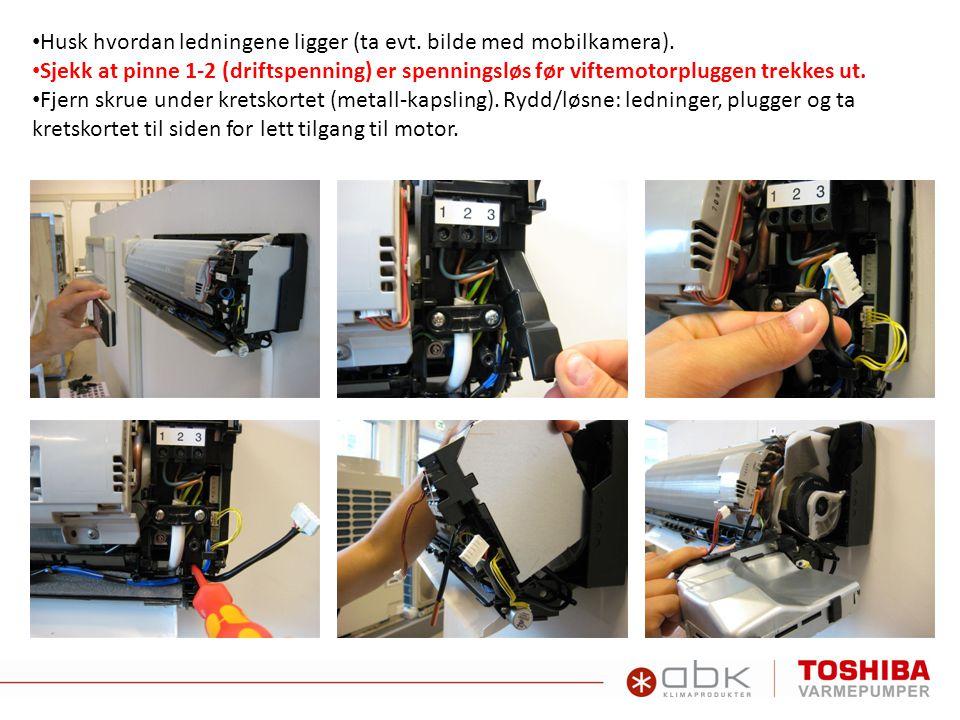 • Løsne settskruen for viftetrommel/motor.Sitter veldig hardt.