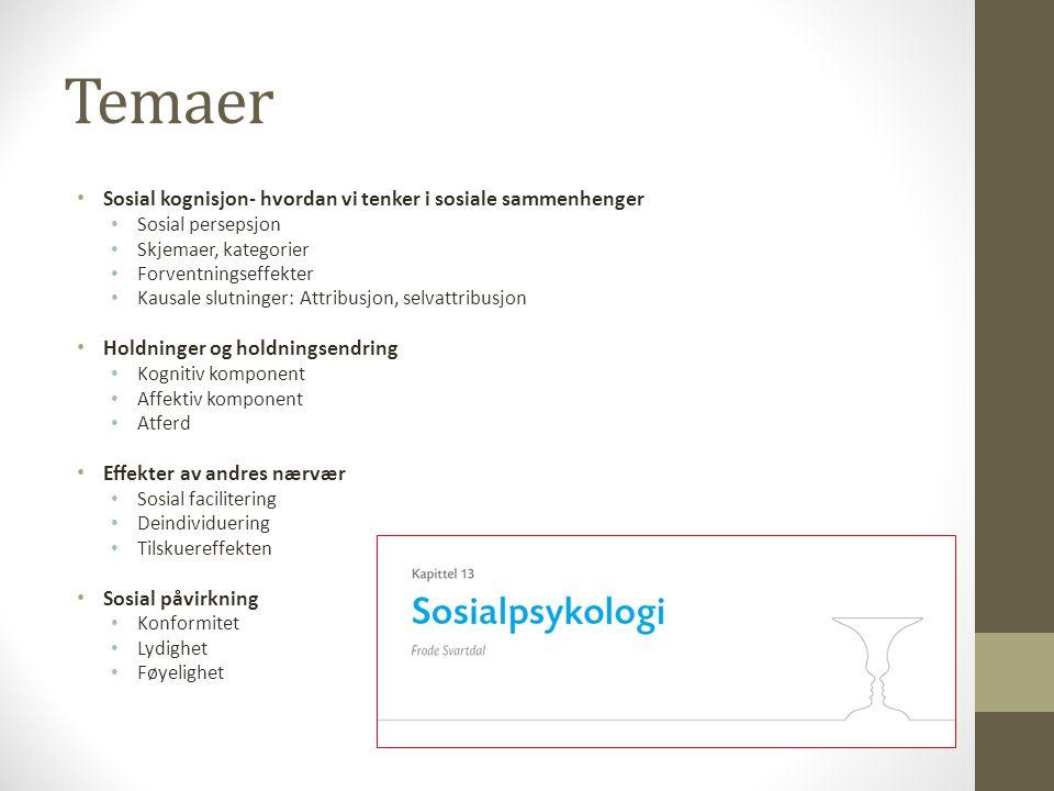 Temaer • Sosial kognisjon- hvordan vi tenker i sosiale sammenhenger • Sosial persepsjon • Skjemaer, kategorier • Forventningseffekter • Kausale slutni