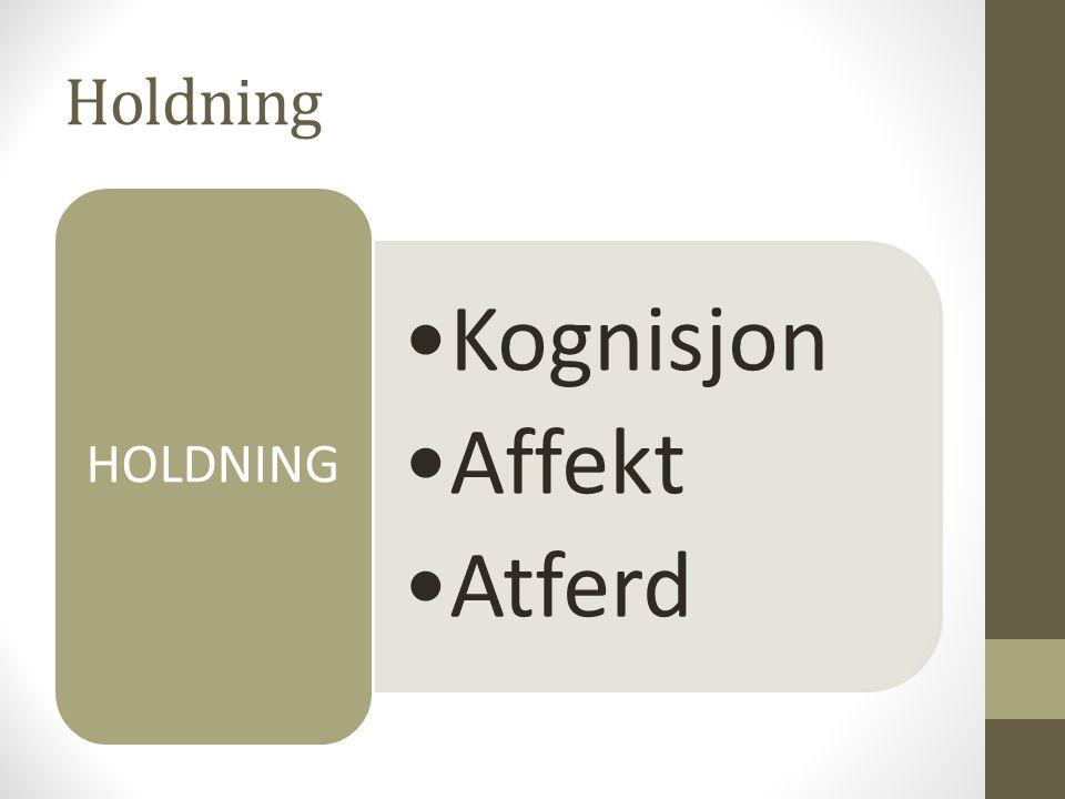 Holdning •Kognisjon •Affekt •Atferd HOLDNING
