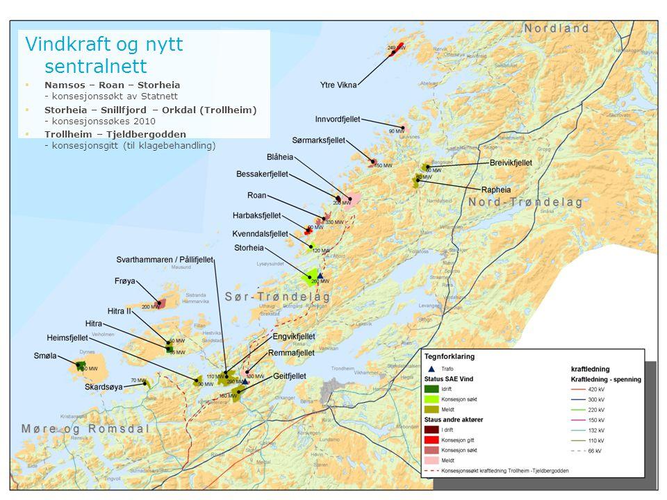 Vindkraft og nytt sentralnett  Namsos – Roan – Storheia - konsesjonssøkt av Statnett  Storheia – Snillfjord – Orkdal (Trollheim) - konsesjonssøkes 2