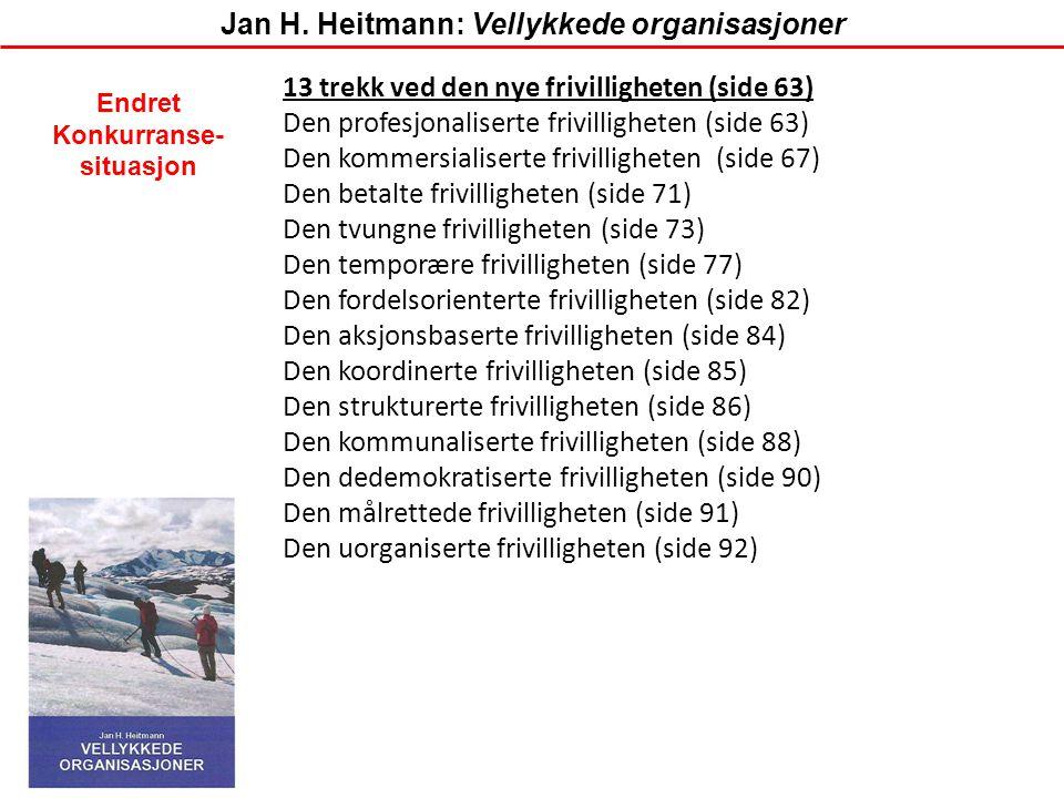 13 trekk ved den nye frivilligheten (side 63) Den profesjonaliserte frivilligheten (side 63) Den kommersialiserte frivilligheten (side 67) Den betalte