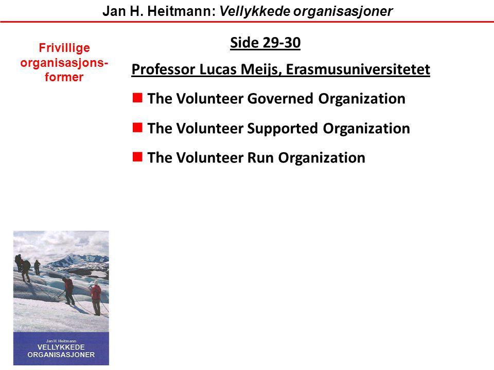 Side 29-30 Professor Lucas Meijs, Erasmusuniversitetet  The Volunteer Governed Organization  The Volunteer Supported Organization  The Volunteer Ru