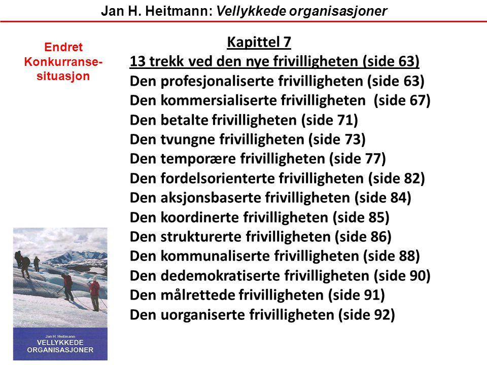 Kapittel 7 13 trekk ved den nye frivilligheten (side 63) Den profesjonaliserte frivilligheten (side 63) Den kommersialiserte frivilligheten (side 67)