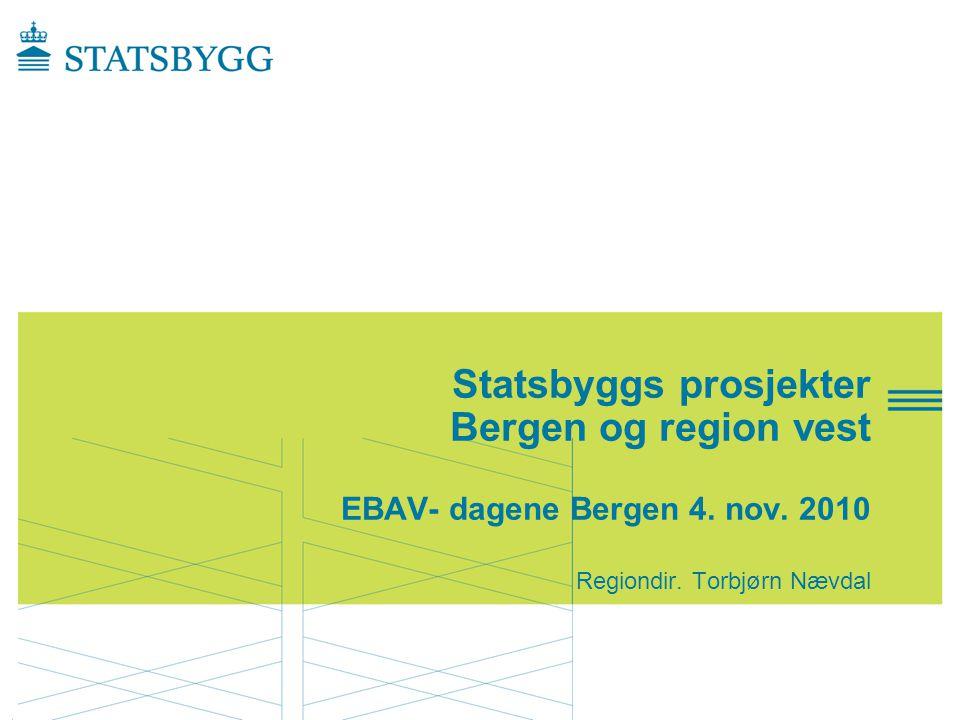Presentasjonen gir et bilde av •Statsbygg ansvar og oppgaver •Byggeprosjekt i Bergen •Byggeprosjekter i regionen for øvrig Prosjektinfo SB region vest-04.10.2010