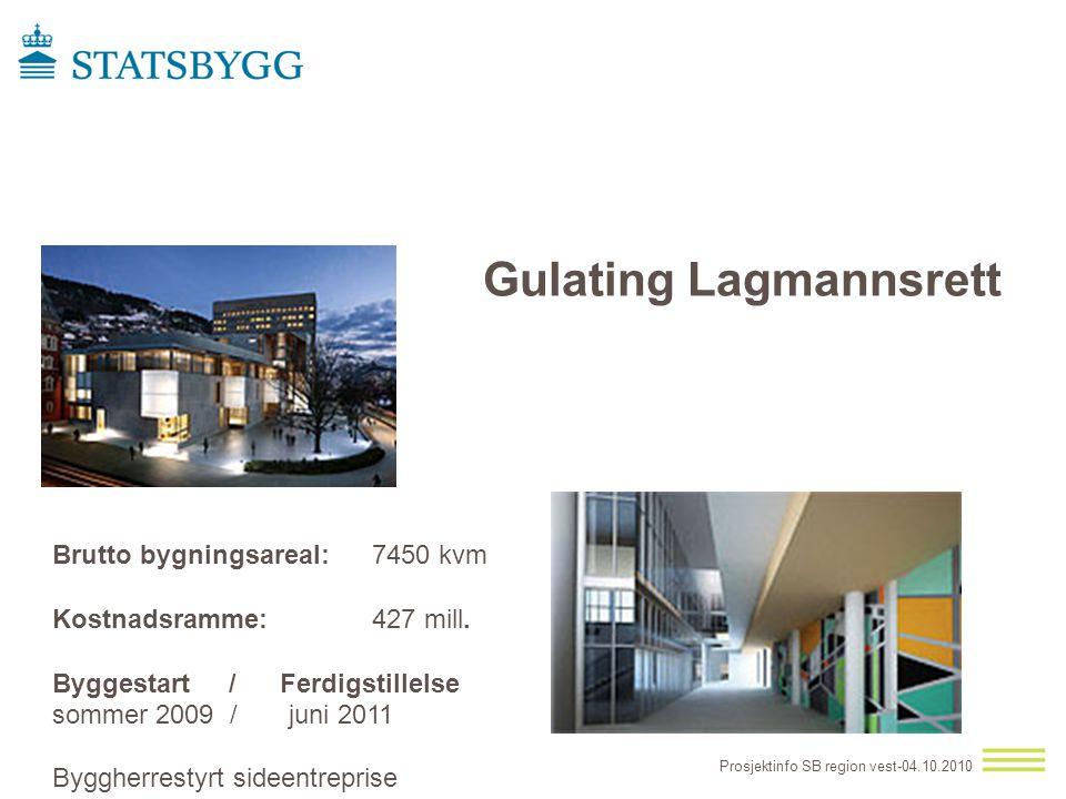 Gulating Lagmannsrett Brutto bygningsareal: 7450 kvm Kostnadsramme: 427 mill. Byggestart / Ferdigstillelse sommer 2009 / juni 2011 Prosjektinfo SB reg