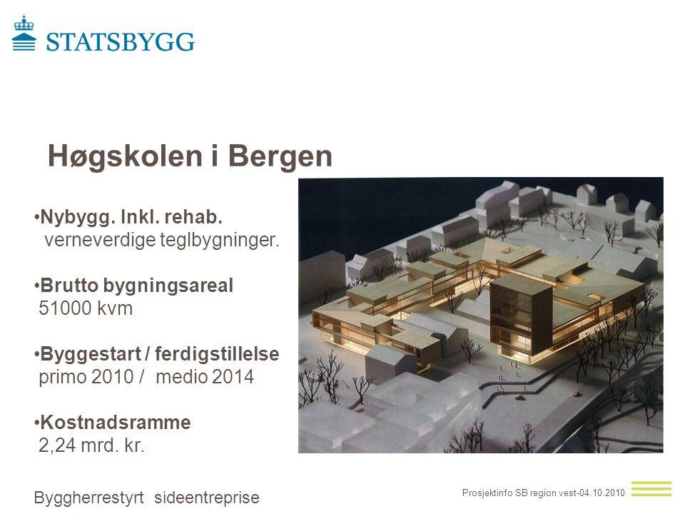 Høgskolen i Bergen •Nybygg. Inkl. rehab. verneverdige teglbygninger. •Brutto bygningsareal 51000 kvm •Byggestart / ferdigstillelse primo 2010 / medio