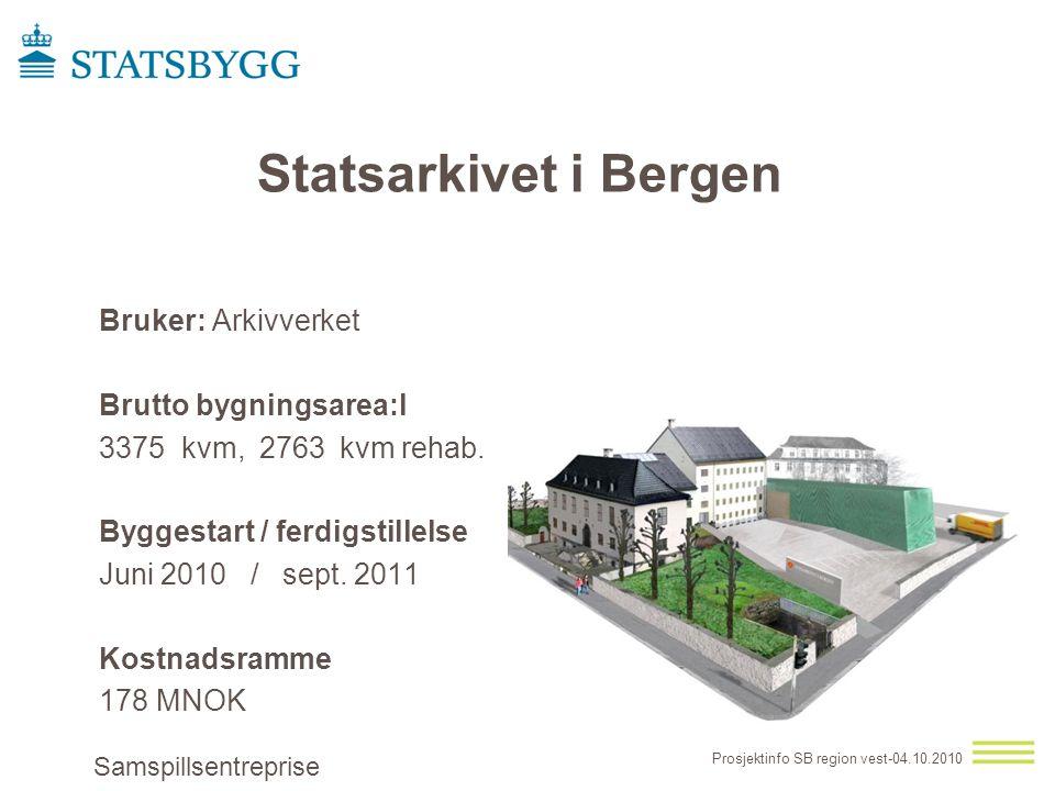 Bruker: Arkivverket Brutto bygningsarea:l 3375 kvm, 2763 kvm rehab.