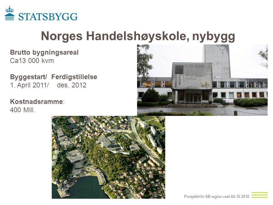 Prosjektinfo SB region vest-04.10.2010 Norges Handelshøyskole, nybygg Brutto bygningsareal Ca13 000 kvm Byggestart/ Ferdigstillelse 1. April 2011/ des