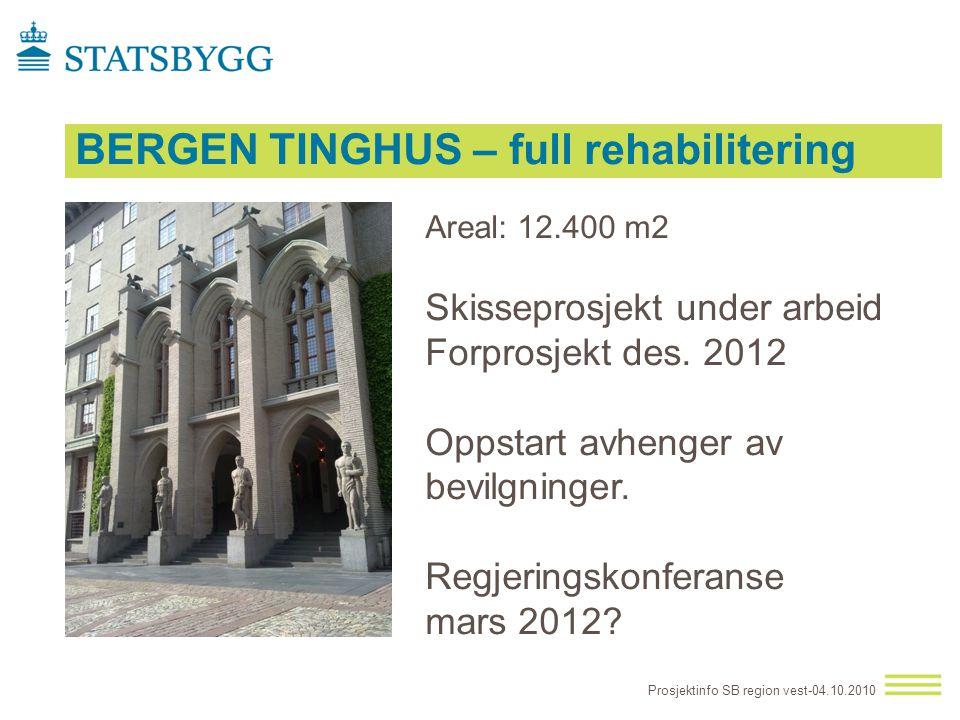 BERGEN TINGHUS – full rehabilitering Prosjektinfo SB region vest-04.10.2010 Areal: 12.400 m2 Skisseprosjekt under arbeid Forprosjekt des. 2012 Oppstar